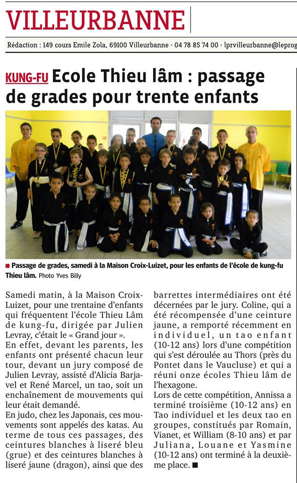 Kung Fu section enfant,saison 2012 passage de grade